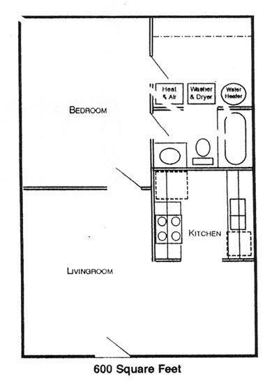 1 Bedroom, One Bedroom, 1, 600, $525.00, $400.00, Apartment, No, Floorplan  Img